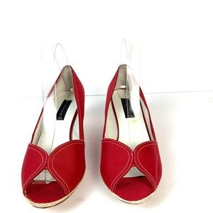 STEVE MADDEN Peep Toe Wedge Heel Shoe Sz 7.5/8 M